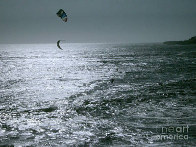 California Kite Surfers Poster by Rick Maxwell