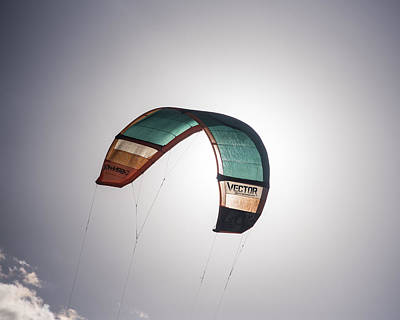 Kiteboard Sail Eclipsing The Sun On Pompano Beach Florida Poster