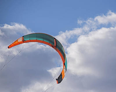 Kiteboard Sail In The Clouds On Pompano Beach Florida Poster