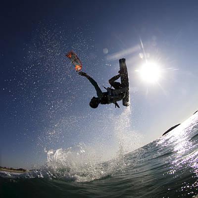 Kitesurfing In The Mediterranean Sea  Poster by Hagai Nativ