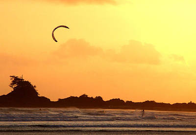 Kitesurfing The Sunset Poster by Mark Alan Perry