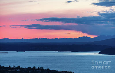 Kitsap Puget Sound Sunset Poster by Mike Reid