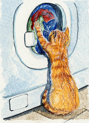 Kitten And Washing Machine 204 Poster by Svetlana Ledneva-Schukina