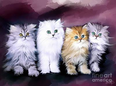 Kitten Family Poster by Melanie D