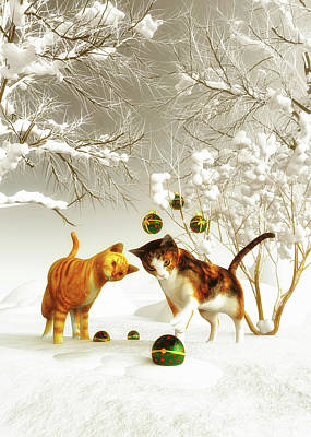 Poster featuring the painting Kittens At Christmas by Jan Keteleer