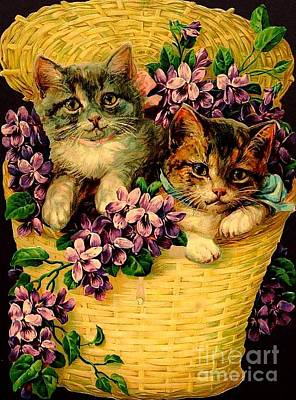 Kittens With Violets Victorian Print Poster