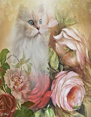 Kitty And Roses Poster