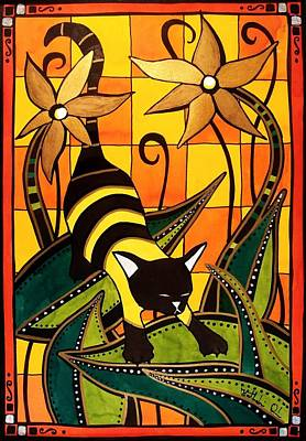 Poster featuring the painting Kitty Bee - Cat Art By Dora Hathazi Mendes by Dora Hathazi Mendes