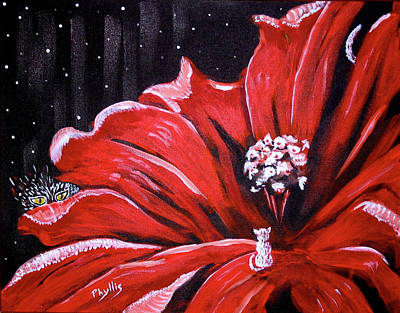Poster featuring the painting Kitty Flower by Phyllis Kaltenbach