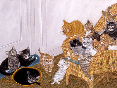 Poster featuring the painting Kitty Litter II by Karen Zuk Rosenblatt