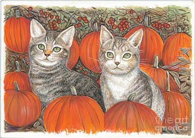 Kittys And Pumpkins Poster by Samuel Showman
