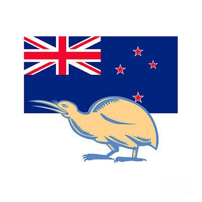 Kiwi Bird Nz Flag Woodcut Poster