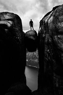 Kjeragbolten - Kjerag, Norway - Black And White Street Photography Poster