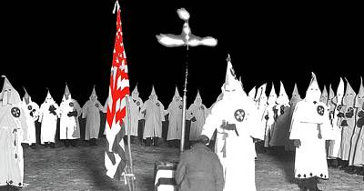 Kkk Initiation Ceremony Circa 1925 Unknown Location Color Added 2016 Poster by David Lee Guss