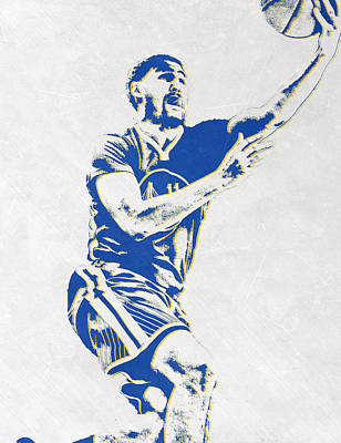 Klay Thompson Golden State Warriors Pixel Art Poster by Joe Hamilton