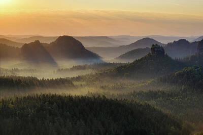 Kleiner Winterberg Silhouettes, Saxon Switzerland, Germany Poster