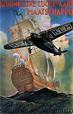 Klm - Royal Dutch Airlines Aircraft Flying Over A Sailing Ship - Vintage Advertising Poster Poster