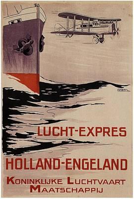Klm - Royal Dutch Airlines Aircraft Flying Over A Steamliner Ship - Vintage Advertising Poster Poster