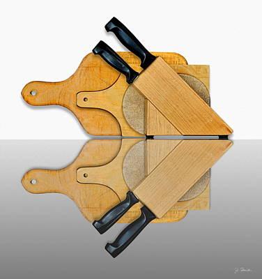 Knife Block And Cutting Boards Poster by Joe Bonita