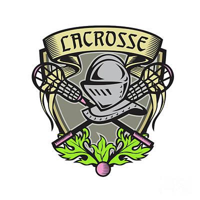 Knight Armor Lacrosse Stick Crest Woodcut Poster by Aloysius Patrimonio