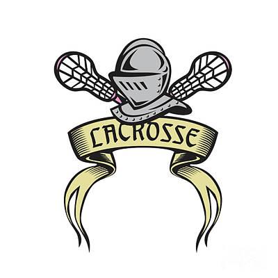 Knight Armor Lacrosse Stick Woodcut Poster by Aloysius Patrimonio