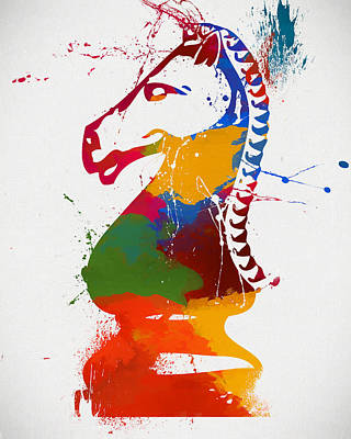 Knight Chess Piece Paint Splatter Poster by Dan Sproul