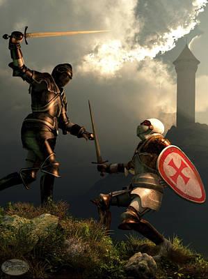 Knight Fight Poster by Daniel Eskridge