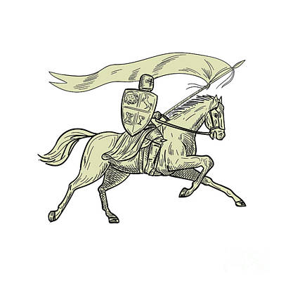 Knight Riding Horse Shield Lance Flag Drawing Poster