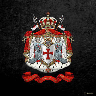Knights Templar - Coat Of Arms Over Black Velvet Poster by Serge Averbukh