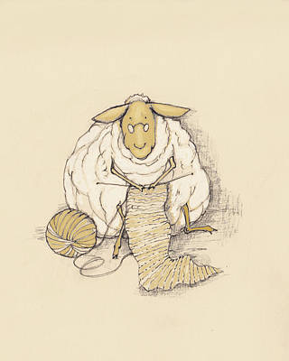 Knitting Sheep Poster by Peggy Wilson