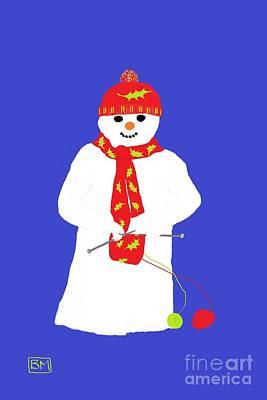 Poster featuring the digital art Knitting Snowman by Barbara Moignard