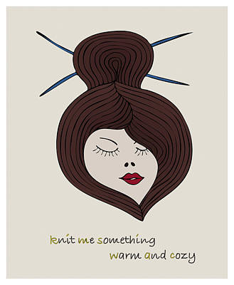 Poster featuring the drawing Knitty Girl by Frank Tschakert