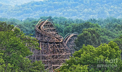 Knobels Wooden Roller Coaster  Poster by Paul Ward