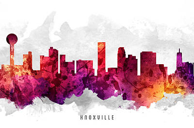 Knoxville Tennessee Cityscape 14 Poster by Aged Pixel