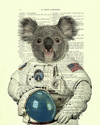 Koala In Space Illustration Poster by Madame Memento