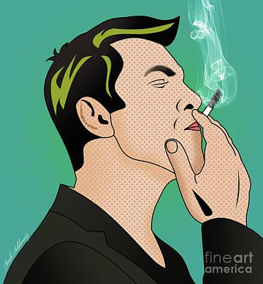 Kobi Borisi   Smoking Man  Poster by Mark Ashkenazi