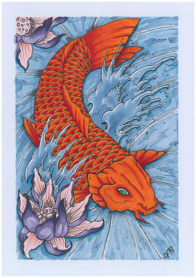 Koi Fish And Lotus Flower Poster by Matt Ghost Kid Telford