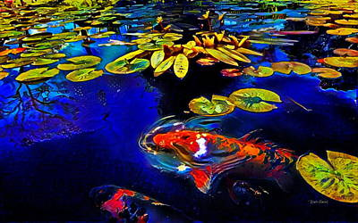 Koi In A Pond Of Water Lilies Poster by Russ Harris