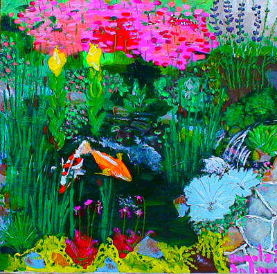 Poster featuring the painting Koi Pond by Angela Annas