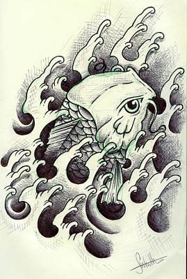 Koi Through The Water Poster by Samuel Whitton