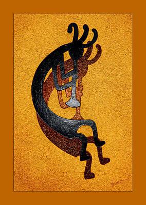 Kokopelli Golden Harvest Poster by Vicki Pelham