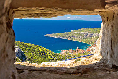 Komiza Bay Aerial View Through Stone Window Poster by Brch Photography