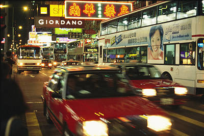Kowloon Street Scene At Night With Neon Poster