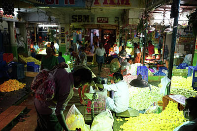 Poster featuring the photograph Koyambedu Flower Market Stalls by Mike Reid