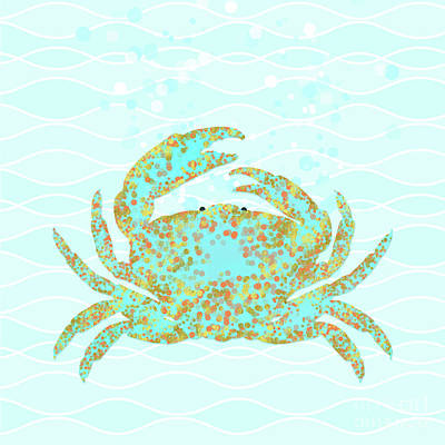 Kramer Crab Amidst The Ocean Waves Poster by Tina Lavoie