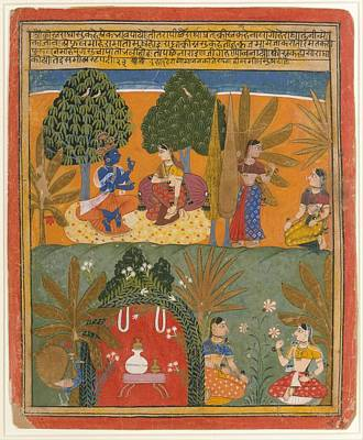 Krishna And Radha With Their Confidantes Page From A Dispersed Gita Govinda Poster