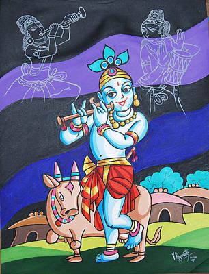 Poster featuring the painting Krishna's Musical Harmony by Ragunath Venkatraman