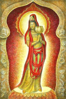 Kuan Yin Lotus Poster by Sue Halstenberg