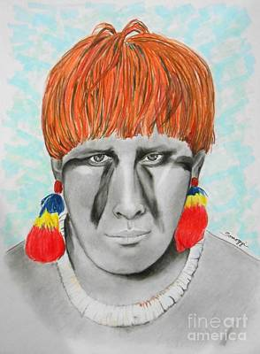 Kuikuro From Brazil -- Portrait Of South American Tribal Man Poster