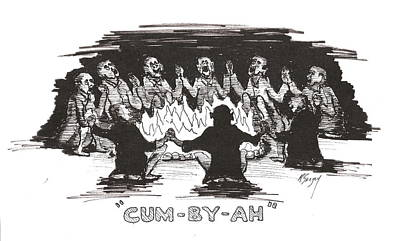 Poster featuring the drawing Kumbaya by R  Allen Swezey
